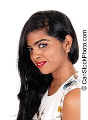 Closeup of beautiful Indian woman.