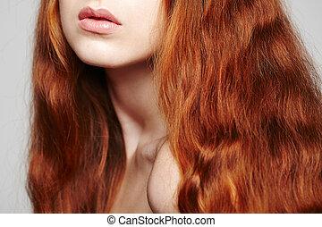 Closeup of beautiful red headed woman