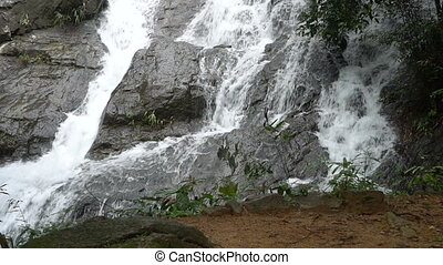 Closeup of beautiful waterfall