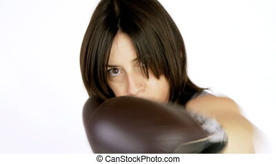Closeup of beautiful woman boxing
