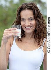 Closeup of beautiful woman drinking milk