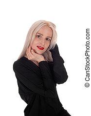 Closeup of beautiful woman in black dress