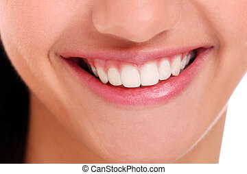 Closeup of beautiful woman smile