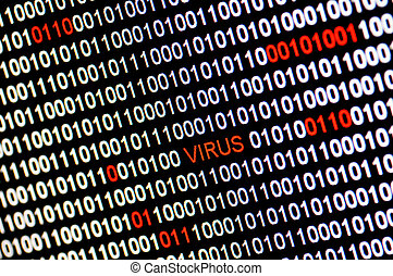Closeup of binary code infected by computer virus.