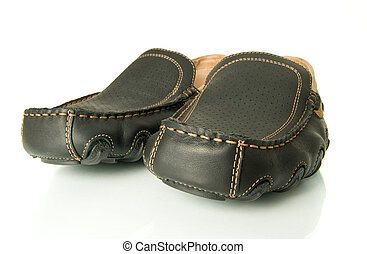 Closeup of black mens shoes moccasins