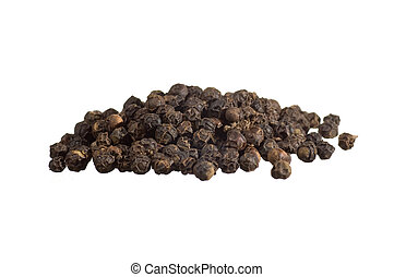 Closeup of black pepper isolated on white