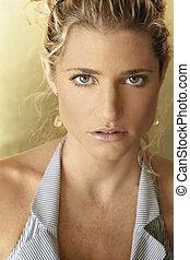 Closeup of Blonde model