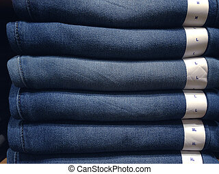 closeup of blue jeans in a shop