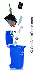 Closeup of blue recycle bin with open lid and recyclable materials
