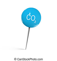 Closeup Of Blue Shiny Thumbtack With Co2 Icon