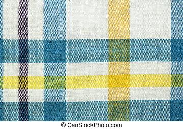closeup of blue tablecloth
