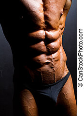 closeup of bodybuilder abdomen on black background