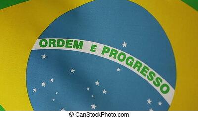 Closeup of Brazil flag, slow motion