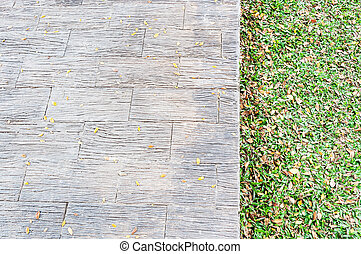 Closeup of brick pathway