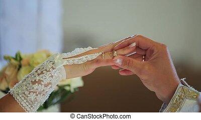 closeup of bride exchanging wedding rings