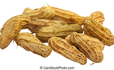 Closeup of brown boil peanut on white background