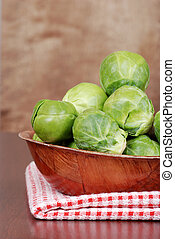 closeup of brussel sprouts