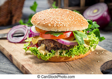 Closeup of burger made from vegetables and beaf