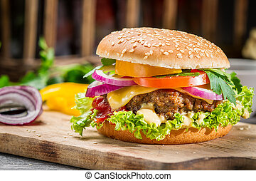 Closeup of burger made from vegetables