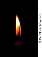 Closeup of burning candle isolated on black background