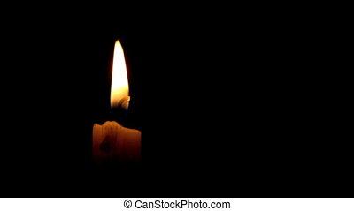Closeup of burning candle