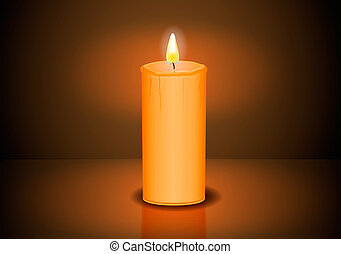 Closeup of burning candles on a dark background