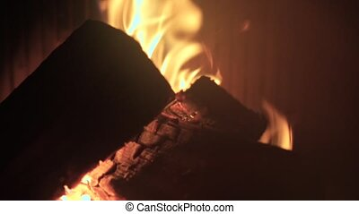 Closeup of burning firewood in a stove.