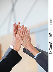 Closeup of business people hands