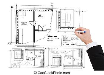 closeup of businessman hand drawing blueprint - business, ...