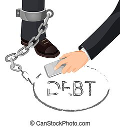 Closeup of businessman in metal handcuffs on leg vector illustration