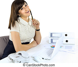 Closeup of businesswoman in the office