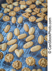 Closeup of butter cookie on a grate