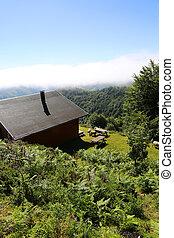 Closeup of cabin in the mountain