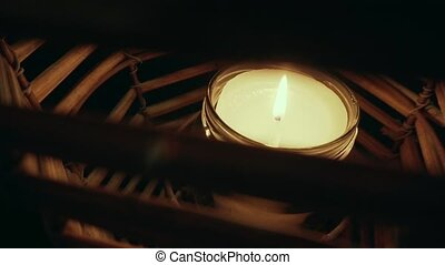 Closeup of Candle - closeup of candle on tree background