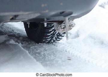 Closeup of car tire in winter