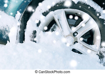 closeup of car wheel - transportation, winter and vehicle...