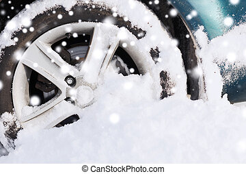 closeup of car wheel - transportation, winter and vehicle...
