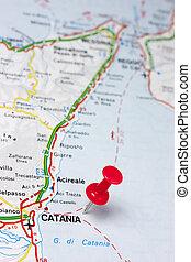 Catania Italy On A Map