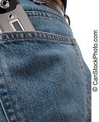 Closeup of cel phone in back pocket