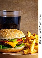 cheeseburger menu - Closeup of cheeseburger menu with fries...
