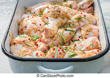 Closeup of chicken legs with herbs and honey for grill