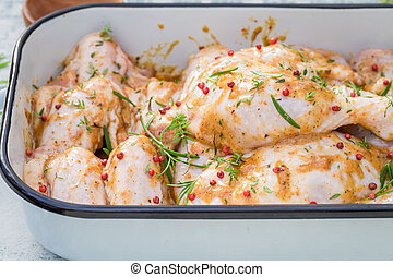 Closeup of chicken legs with honey and herbs for grill