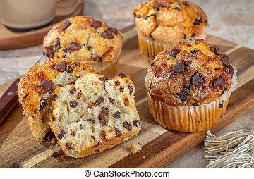 Closeup of Chocolate Chip Muffins