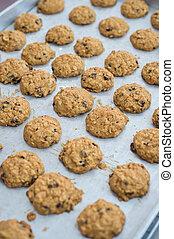 Closeup of chocolate grains cookie