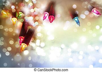 Christmas lights - Closeup of Christmas lights glowing