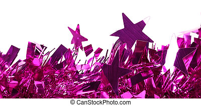 Closeup of christmas purple tinsel with stars.