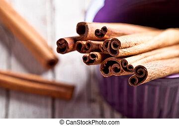 cinnamon sticks in bowl