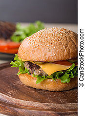 Closeup of classic burger