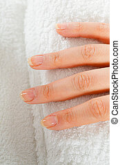 Closeup of clean woman hand