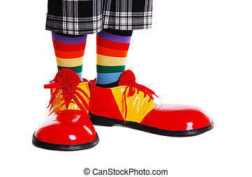 clown shoes on white background